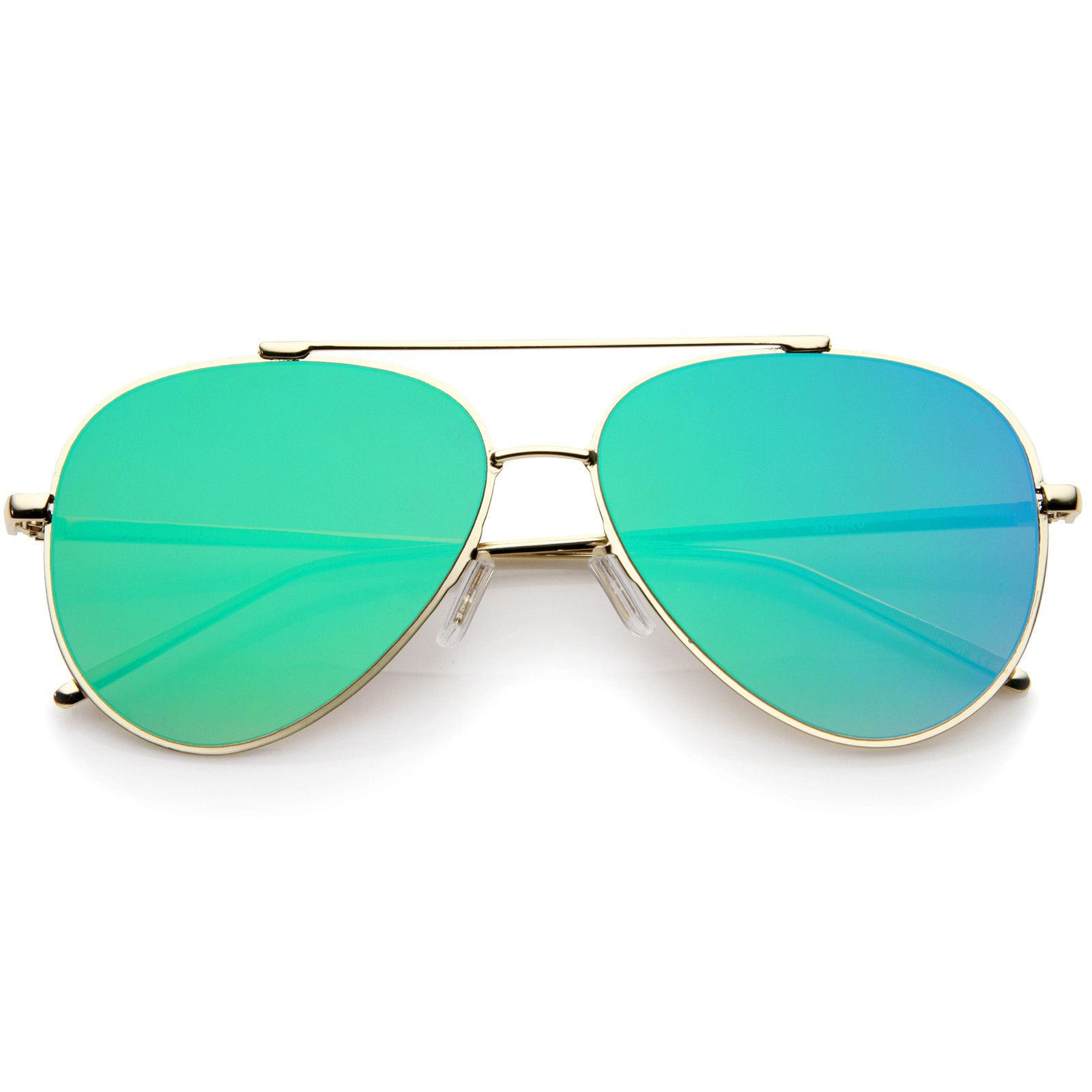 Rimless Teardrop Color Mirrored Flat Lens Wire Frame Aviator ...