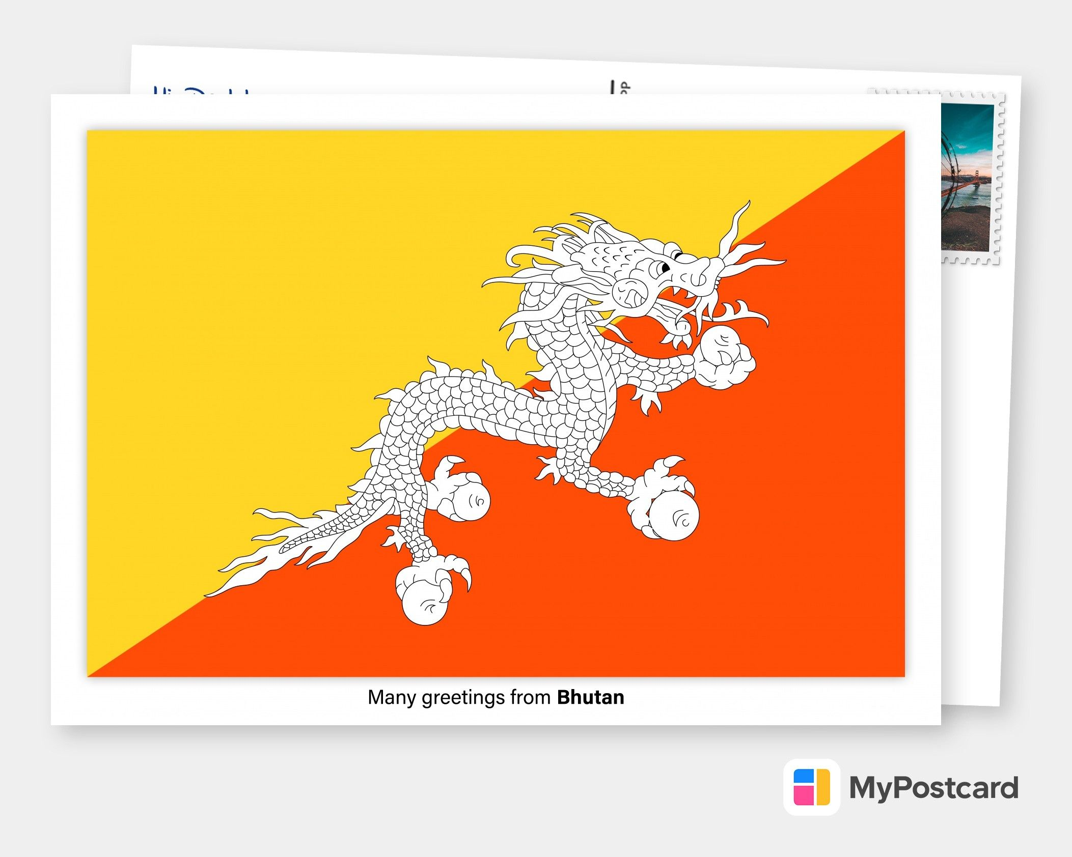 Many Greetings From Bhutan Vacation Cards Quotes Send Real Postcards Online Bhutan Flag Flags Of The World Flag