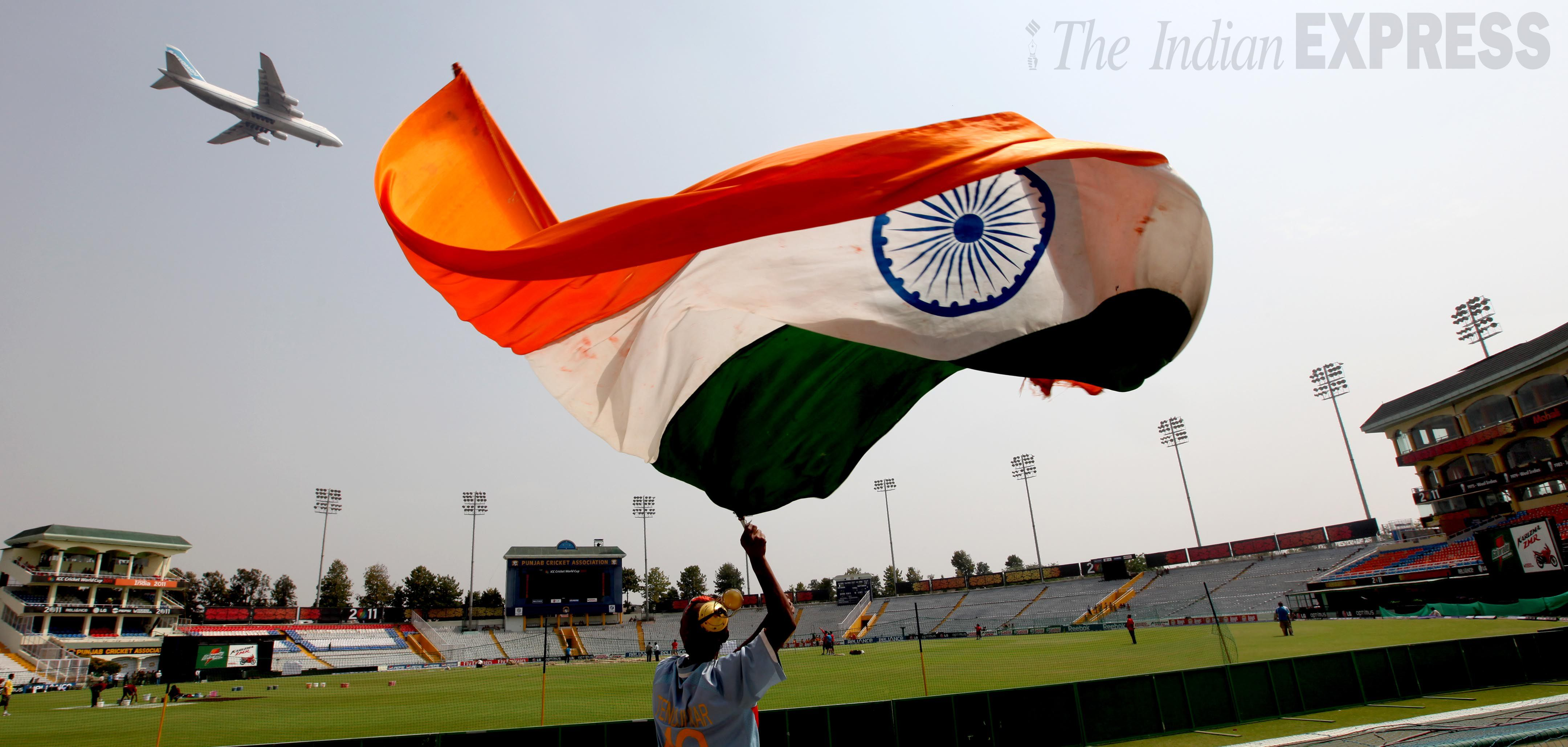 Indian Flag Cricket: A Fan Hoists The Indian Flag, A Day Before The Cricket