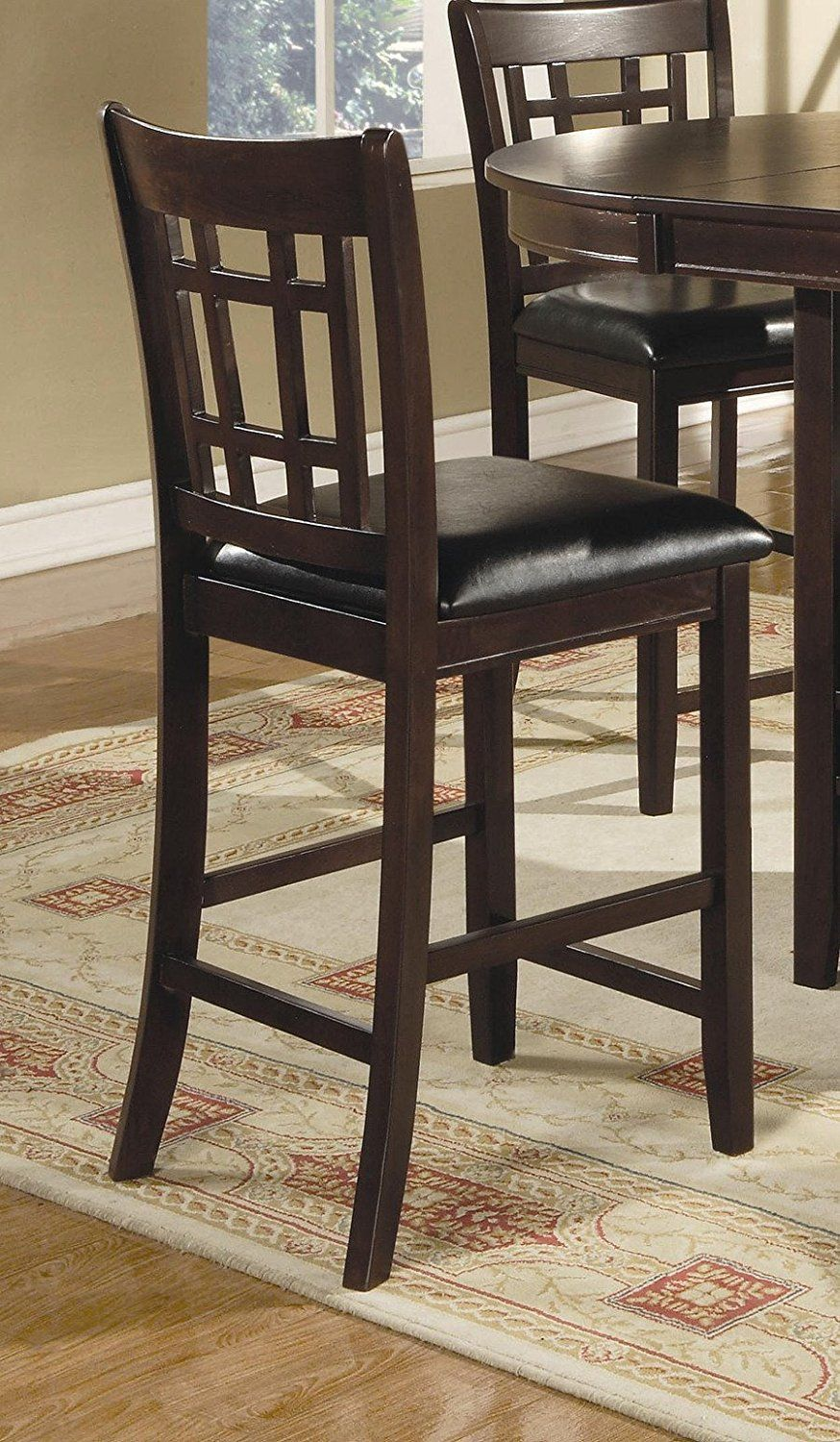 "AmazonSmile: Coaster Leather-Look 2-Piece Pub Chair, 24"" height ..."