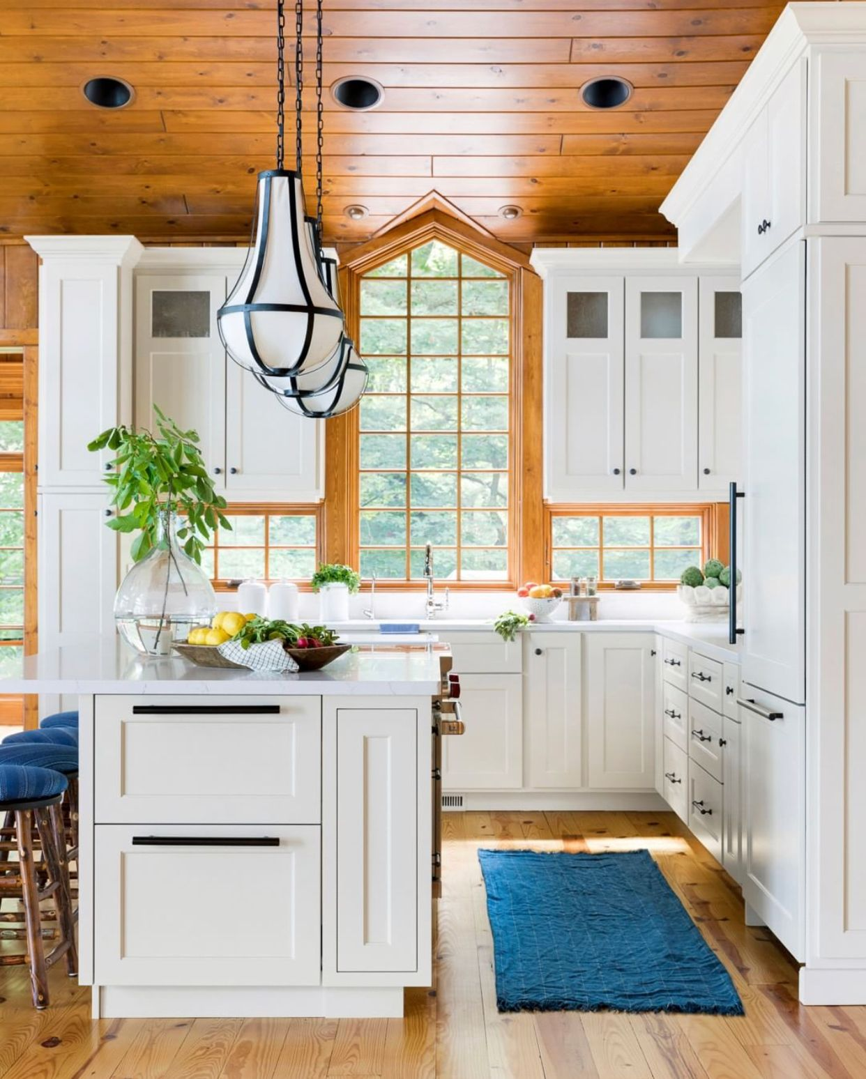 bria hammel interiors wood ceiling and window trim in white kitchen cabin feel interior on kitchen interior with window id=49481