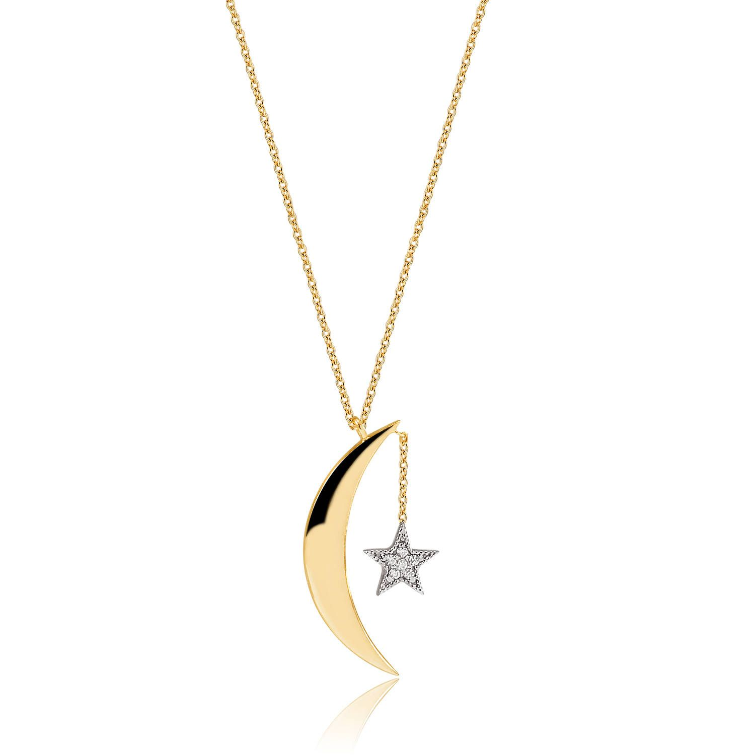 14k 18k Gold Gold Moon And Star Diamond Necklace Crescent Etsy Diamond Star Necklace Gold Moon Star Pendant Necklace