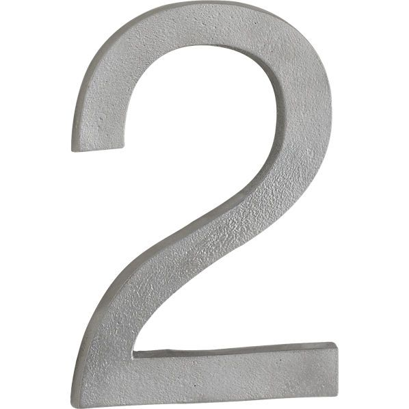 """House numbers from cb2.com  Price: $9.95 each house number  Dimensions: 2.5"""" W x 0.5"""" D x 7.5"""" H Overall Dimensions Width: 5"""" Depth: 0.5"""" Height: 7.5. Handcrafted Polished raw cast aluminum Lacquered for outdoor use Wall mounting hardware included Clean with soft, dry cloth Made in India Susan's suggestion"""