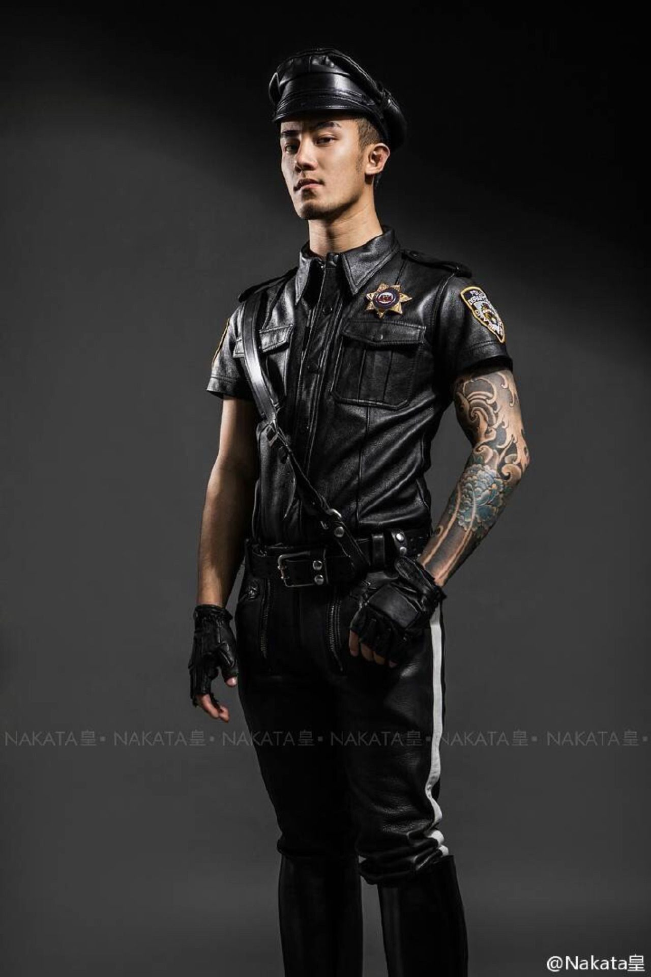 Leather gay asian