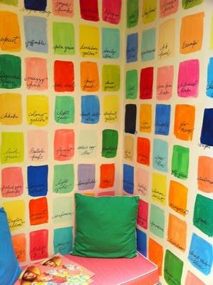 Wouldn't it be fun to open up a closet to colourful walls like this?  Here is inside a dressing room at a LillyPulitzer store in Palm Beach. Looks like all you need to do is grab a heap of paint samples from the paint store, make a rectangular stencil paint in strokes to emulate water colours –not painting perfectly, let dry then hand write with a thin sharpie the colour names on each rectangle. Via Lilly's Notebook.
