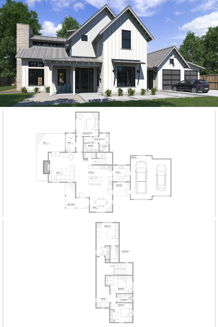 The Normande Modern Farmhouse Floor Plan 2702 Square Feet Of Intentional House Plan De Modern Farmhouse Floorplan House Plans Farmhouse Farmhouse Floor Plans
