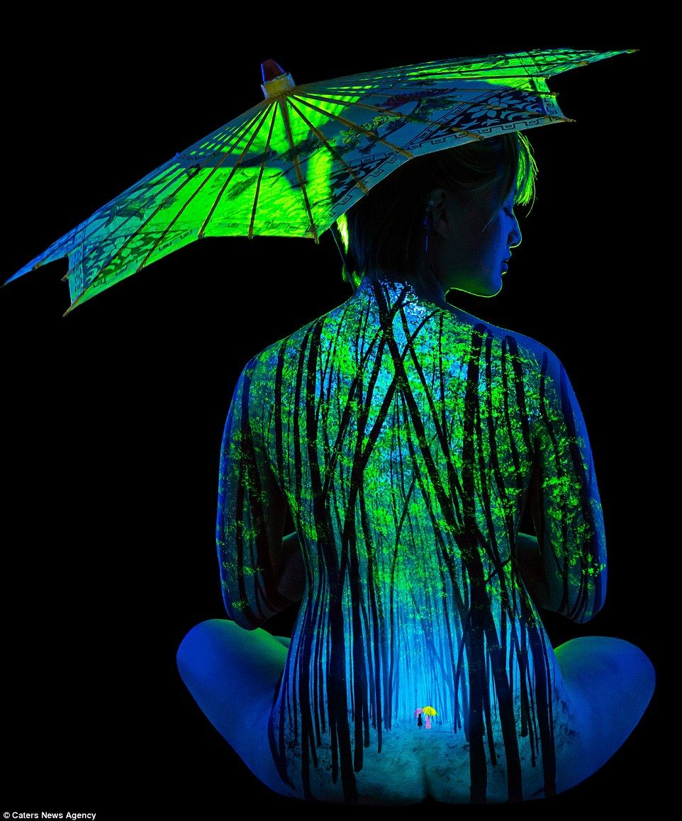 Stunning landscapes on the body with fluorescent colors