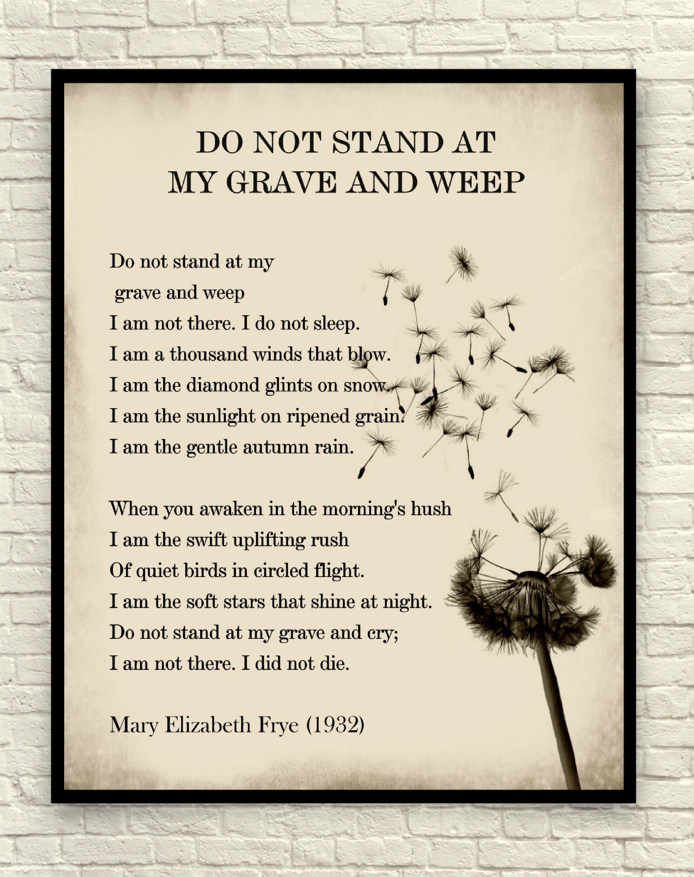 Wall Art Art Print Poetry Print Literary Print Do Not Stand At