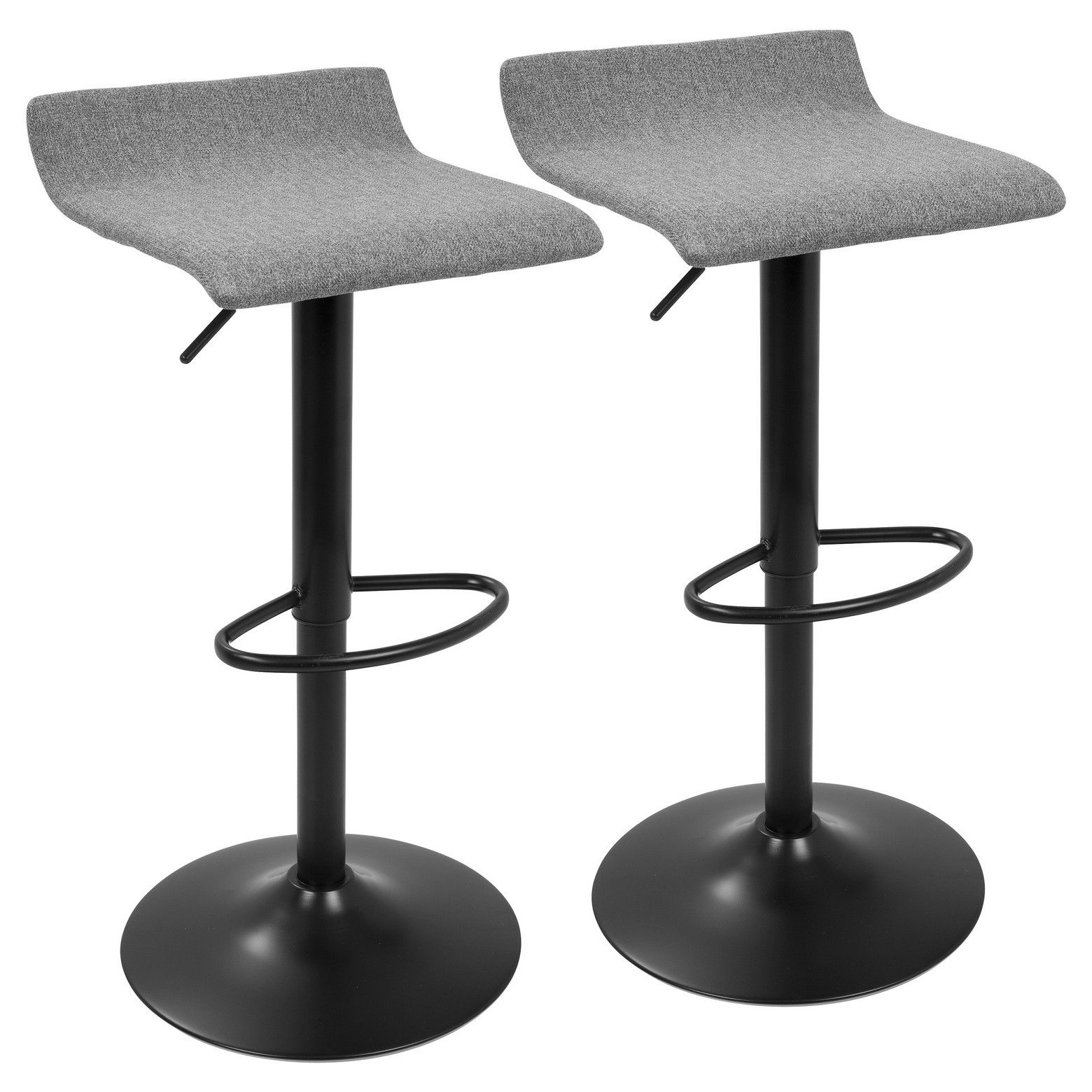 Set Of 2 Ale Xl Contemporary Adjustable Barstool Black And Gray