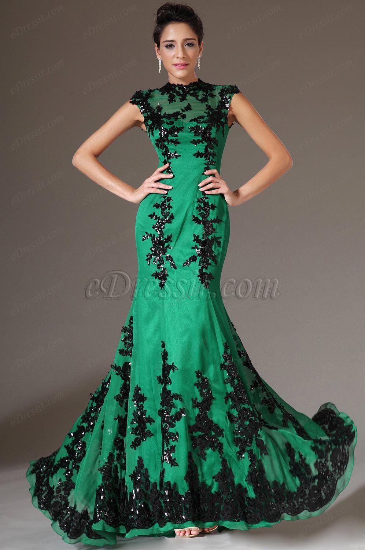 Edressit green new adorable black lace evening dress