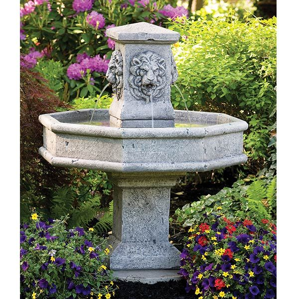 Lion Lovers Will Adore The Looks And Sounds Of The Lion Square Column Garden  Fountain From