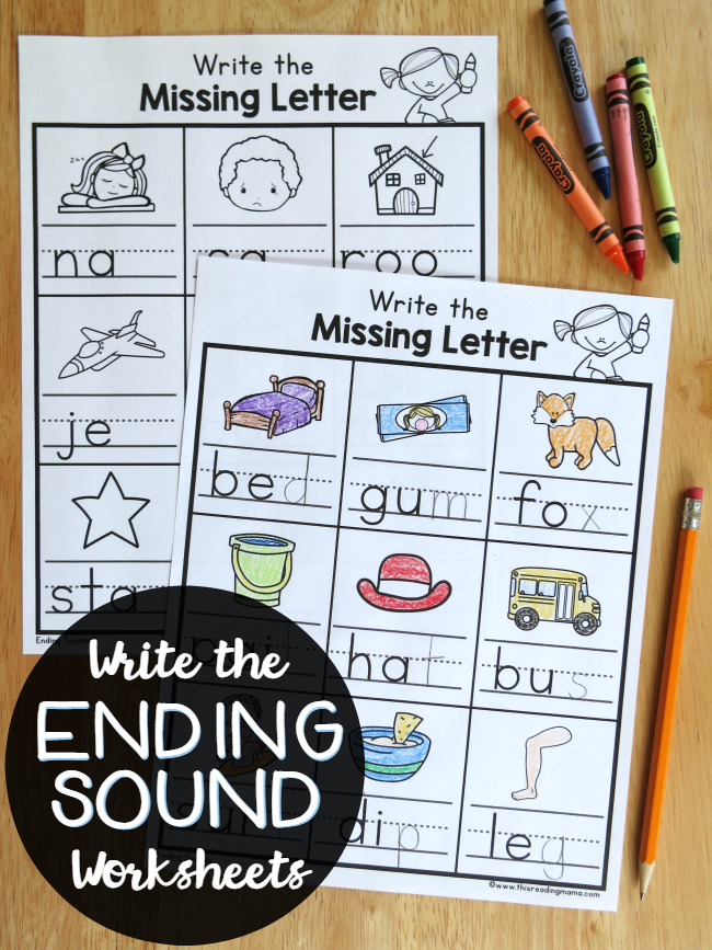 Write the Ending Sounds Worksheets | Worksheets, Alphabet sounds and ...