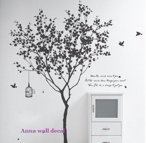 Tree with bird:wall decals, vinyl wall decal, wall stickers,nursery wall stickers,tree wall decals,tree and birds wall art,