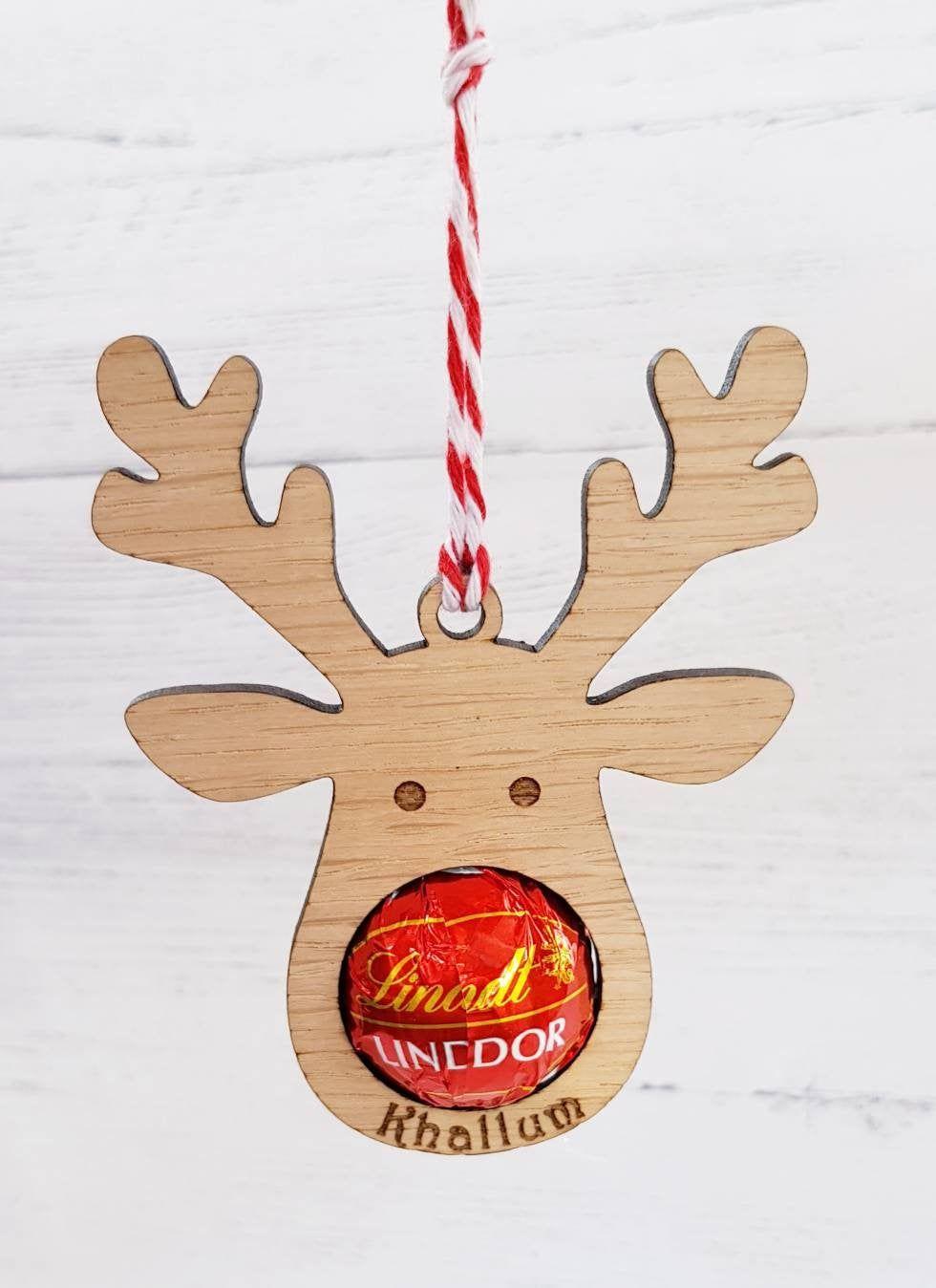 personalized   Reindeer Christmas Tree Hanging Wood Decoration Gift Xmas