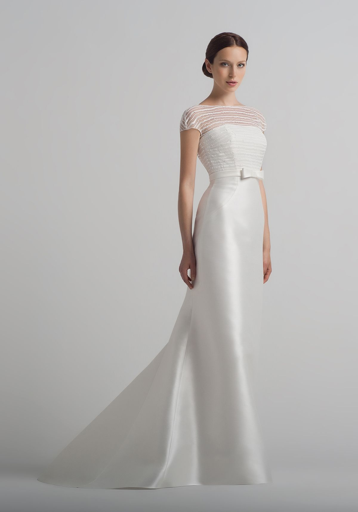 A Straight Cut Satin Wedding Dress Can Be Combined With Bridal Bolero Is Sold Separately
