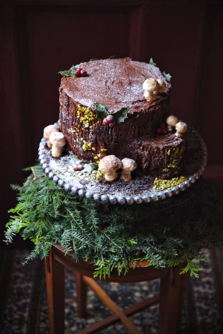 Une Souche de Noël La Pêche Fraîche Christmas cake