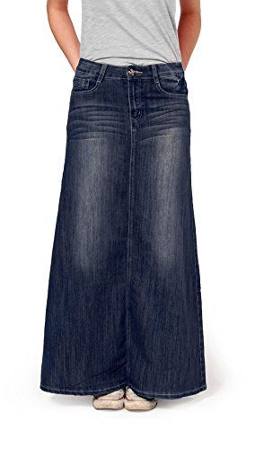 Womens full length denim skirt ladies maxi long skirt (83) Unknown ...