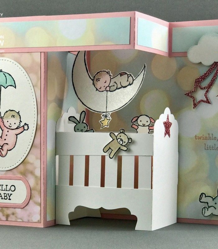 Moon Baby Double Z-Fold Crib Card Tutorial, Bronwyn Eastley, Stampin' Up!, #addinktivedesigns