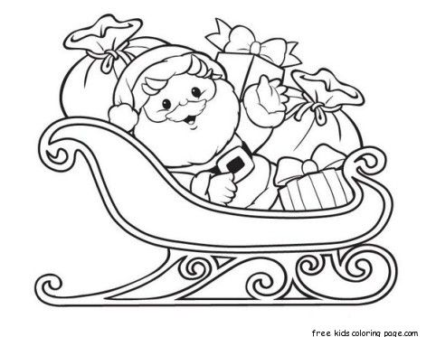 santa claus with sleigh and gifts  santa coloring pages christmas coloring pages printable