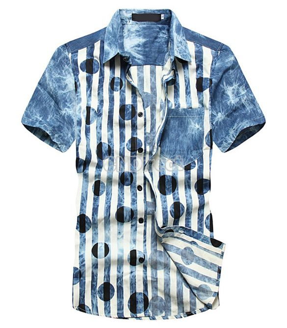 $10.80   New Men's Fashion Slim Fit Short Sleeve Stripe Polka Dot Denim Shirt Casual Wear