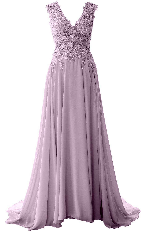 Macloth elegant v neck long prom dress vintage lace chiffon formal