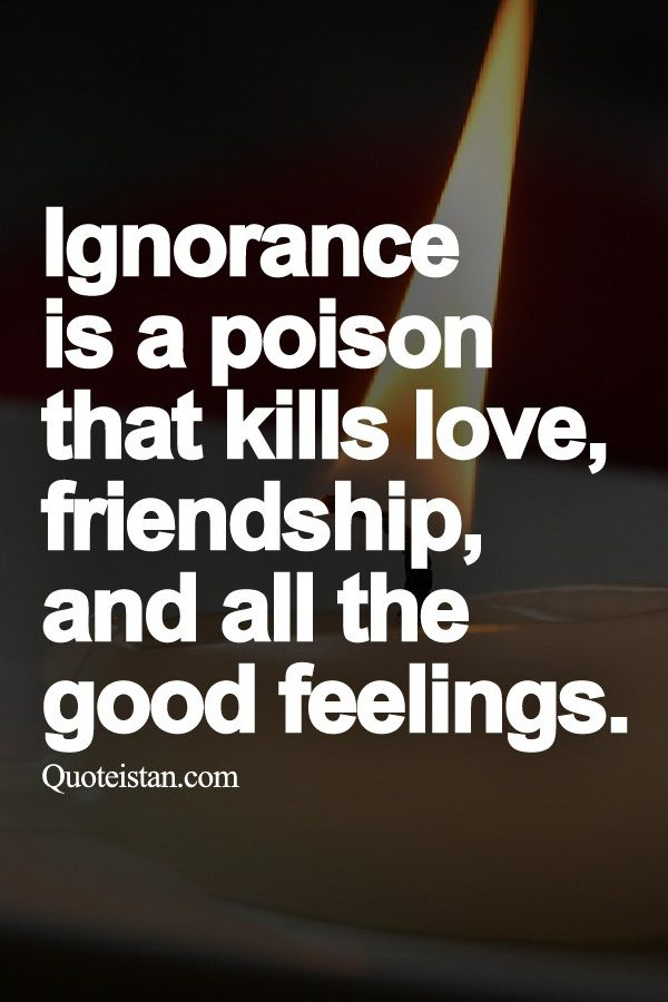 Ignorance Is A Poison That Kills Love Friendship And All The Good