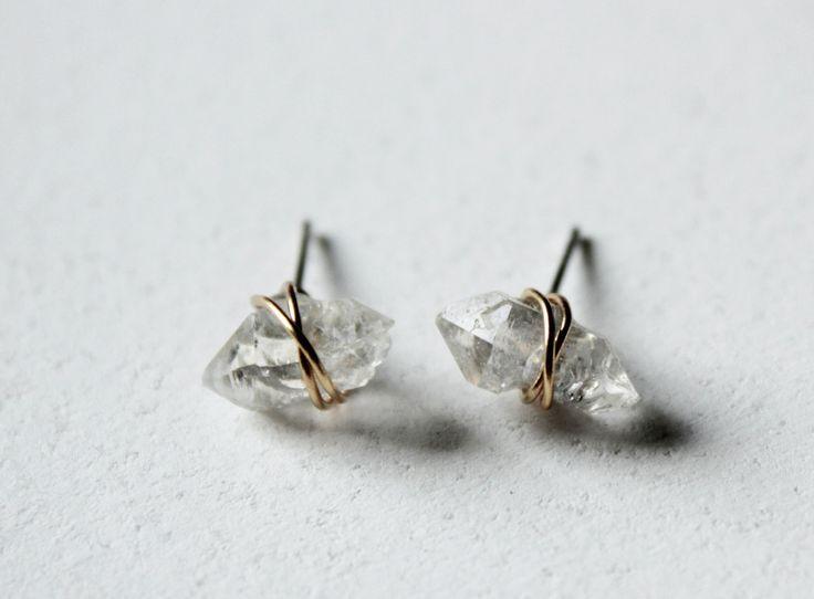 Herkimer Diamond earrings,Minimal earrings,raw stone earrings,healing  crystal and stone jewelry,gold wire wrapped rough gemstone earrings    Herkimer diamond ...
