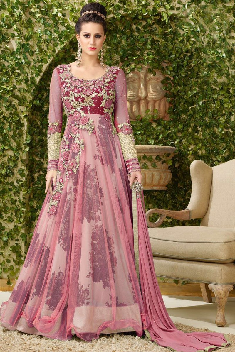 5ec60518cb4 Pink Heavy Embroidered Floor Length Gown Style Party Wear Long Anarkali  Suit in Net Fabric With Silk Printed Inner  Pink  Embroidered  FloorLength   Gown ...