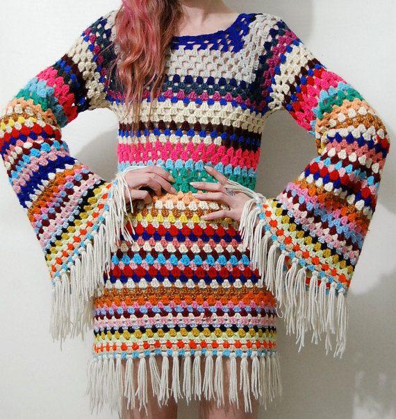 CROCHET DRESS Colourful Stripe Fringe Granny Square Flare Bell ...