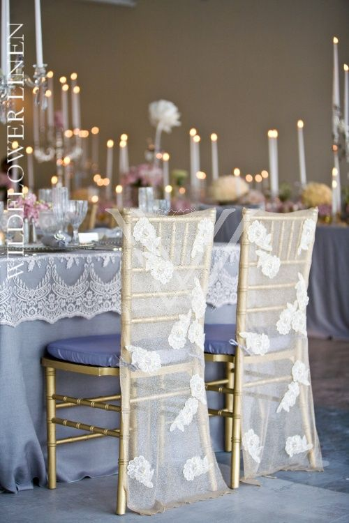 Chair Pad Covers Wedding Leather Mid Century Photo Inspiration Gallery Pinterest Matte Satin Linen Carolyn Lace Champagne W Mirage Silver Underlay Sleeves Glimmer Heather Grey