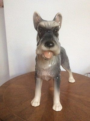 Large Majolica Giant Schnauzer Dog Figurine 9 5 Inches Tall Gm927