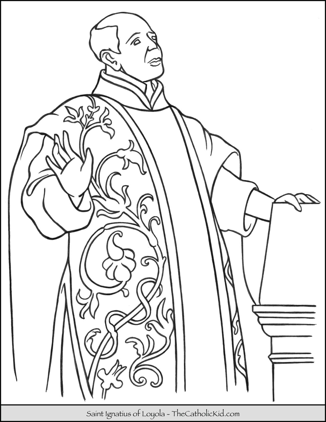 Saint Ignatius Of Loyola Coloring Page Thecatholickid Com