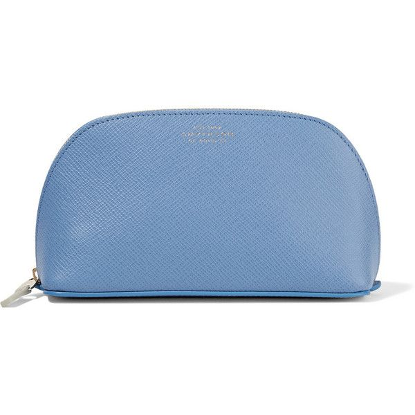 Smythson Panama textured-leather cosmetics case ($230) ❤ liked on Polyvore featuring beauty products, beauty accessories, bags & cases, light blue, purse makeup bag, makeup purse, travel kit, smythson and cosmetic purse