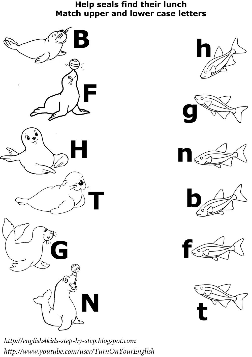 arctic animals matching upper and lower case letters worksheet esl