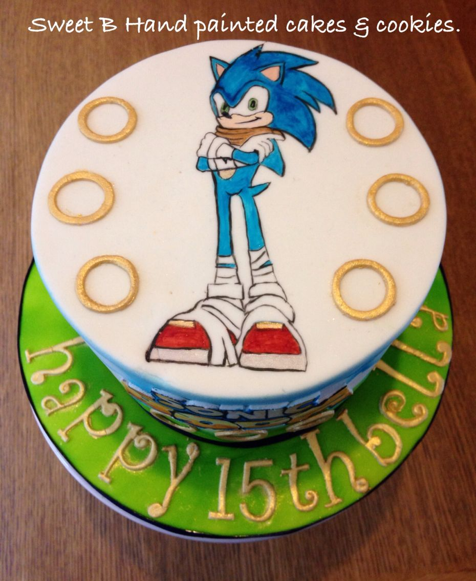 Hand painted Sonic Boom Cake I made for my daughters 15th