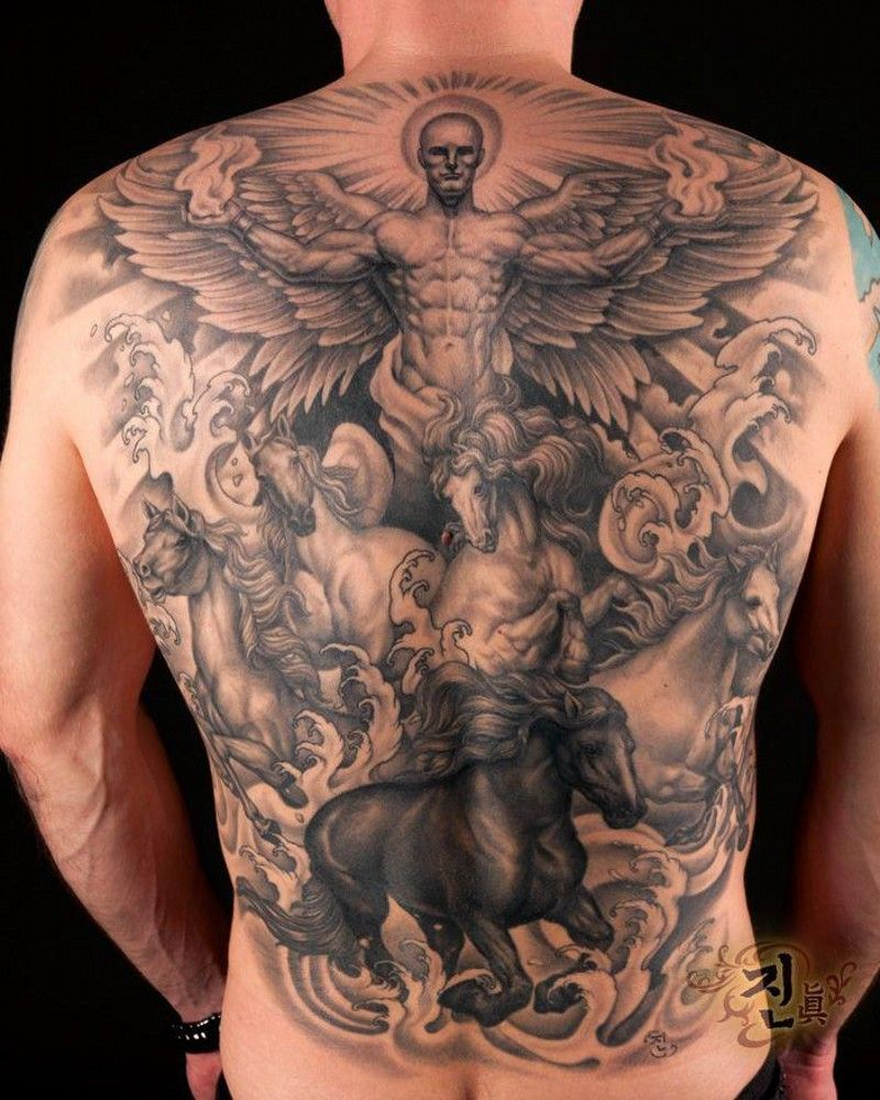 c3bd13643eafc Great angel with horses tattoo on whole back | Tattoos | Angel ...