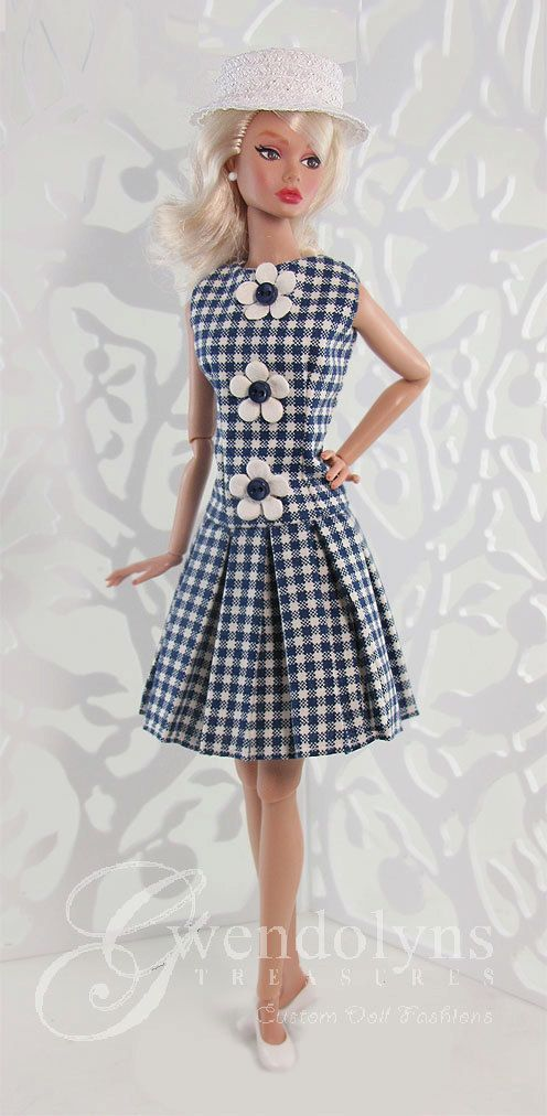 NAVY GINGHAM PLEATS  Fashion for Poppy and Silkstone dolls
