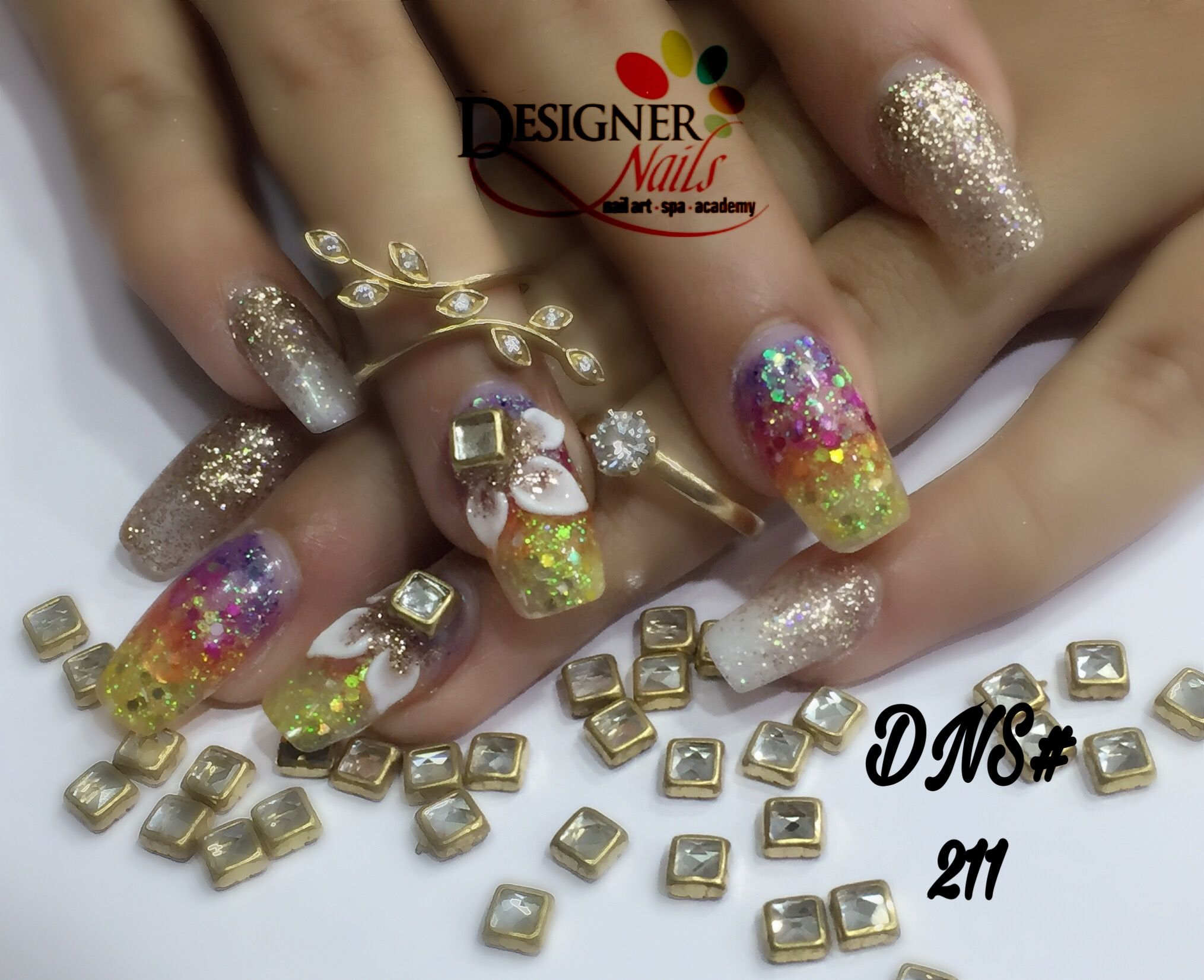 Acrylic nail extension with 2D glitter color ombré # yellow # orange ...