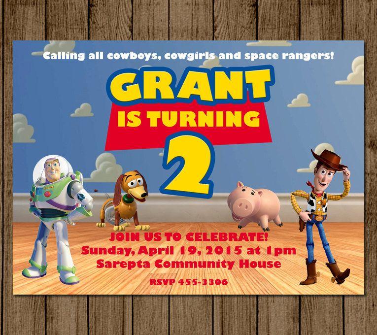 Customized Toy Story Birthday Invitation Invite Buzz Woody Slinky ...