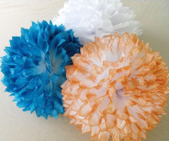 Turquoise & Coral Pom Arrangement #turquoisecoralweddings Turquoise & Coral Pom Arrangement #turquoisecoralweddings