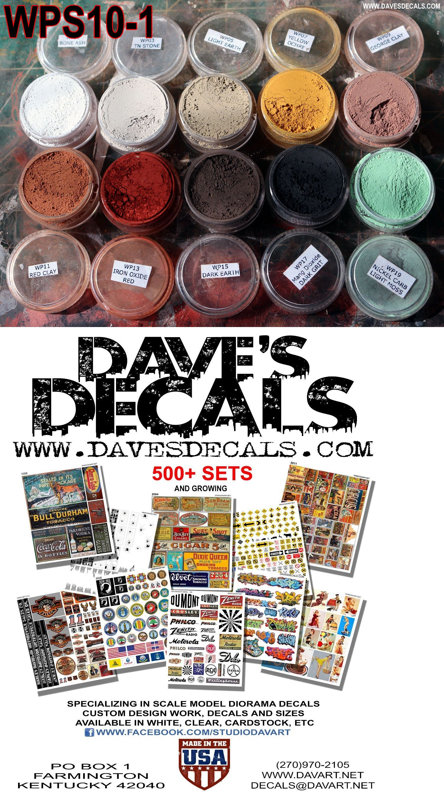 Models and Kits 1188: Wps10-1 Dave S Weathering Powders All