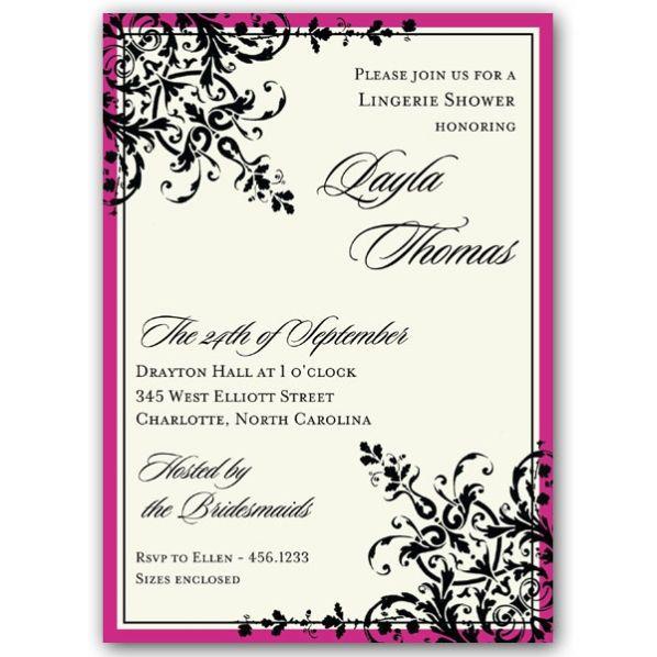 Black Pink Border Ornamental Pattern Lingerie Shower Invitations a