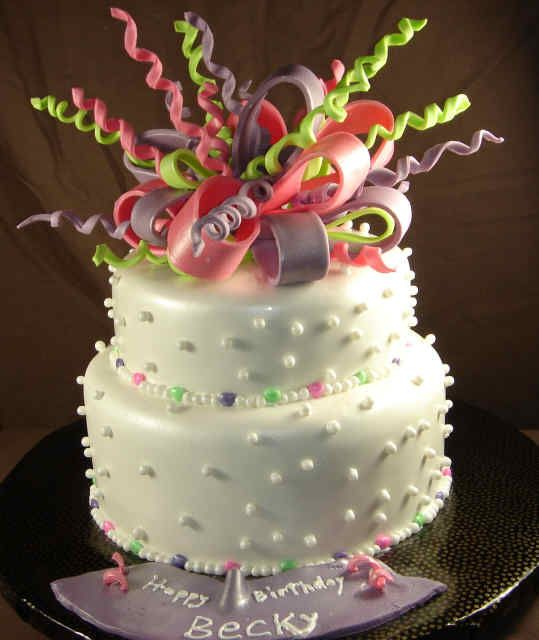 Ribbons And Pearls Birthday Cake 023 Party Ideas Pinterest