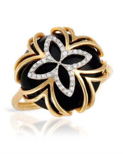 Bidz Com Listing 244111721 Vida Brand New Ring With Precious Stones Genuine Clean Diamonds And Onyx 14k Yellow Gold Certificate Jewelry Accessories Rings