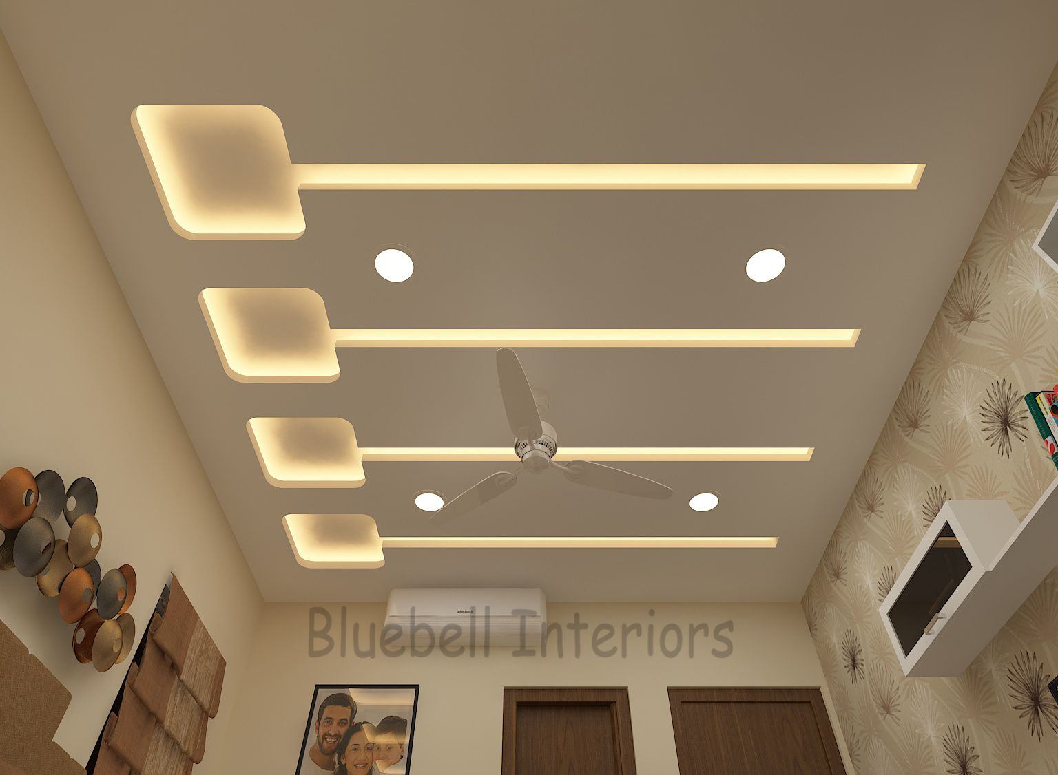 Bedroom False Ceiling Gypsum Ceiling Lighting Design Bed