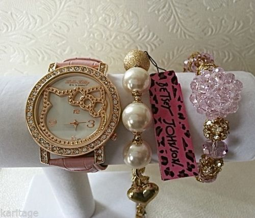 dcf8dda6c Pink Hello Kitty Watch & Swarovski bead Betsey Johnson set(in gift box)