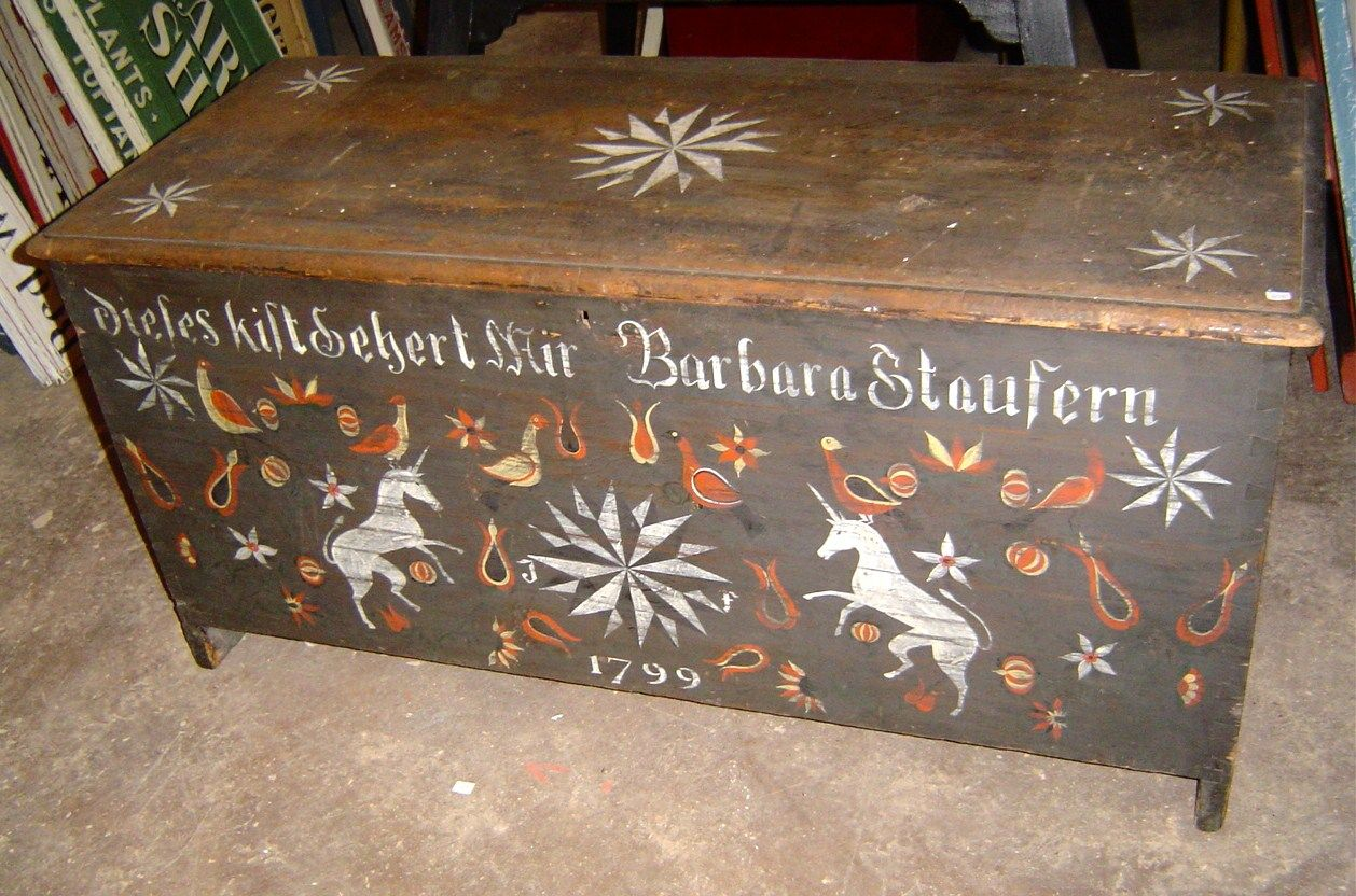 Antique Chests | Decorated Antique Chest In The Pennsylvania German Style