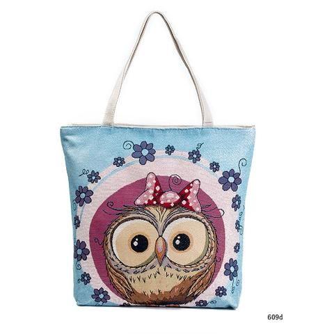 cc1dc278b4  EBay  Miyahouse Cartoon Owl Printed Shoulder Bag Women Large Capacity  Female Shopping Bag Canvas