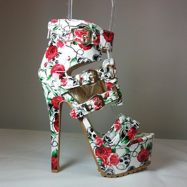 White open toe sandal heels with multiple straps, floral print and skull detailing for a touch of goth #cutesyoriginals