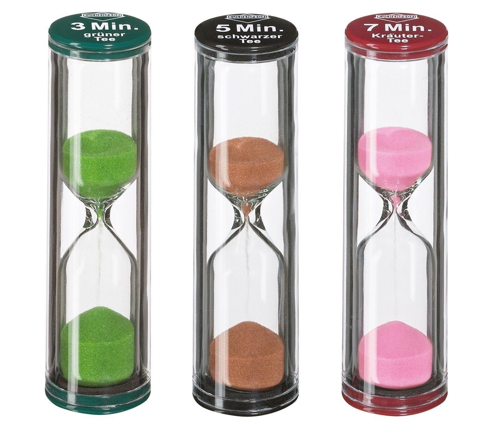 kuchenprofi 3 5 7 minute tea egg sand timers assorted set of 3 100926